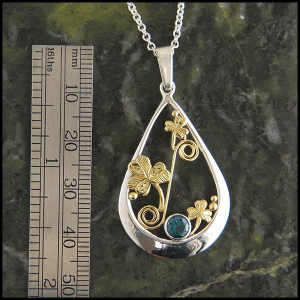 Irish pendant with Evergreen Topaz and Shamrocks