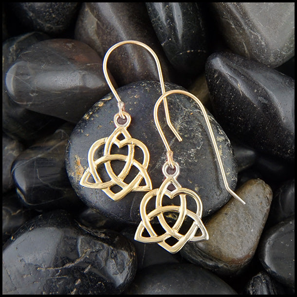 Gold Trintiy Heart drop Earrings
