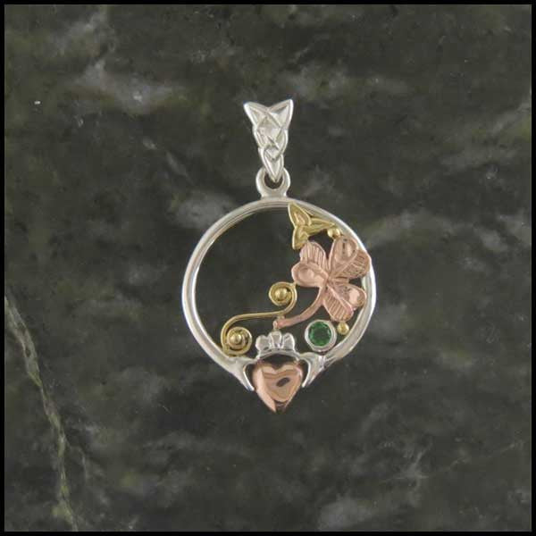 Sterling Silver and Gold Claddagh Pendant with Tsavorite