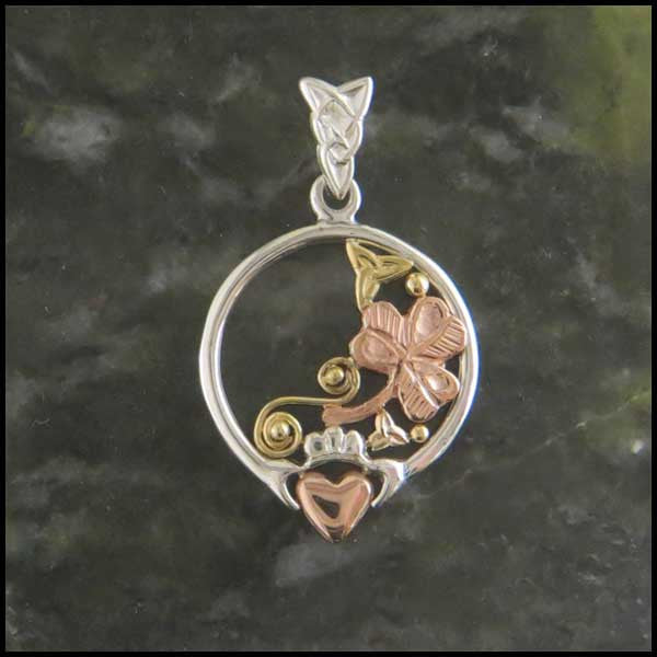 Sterling Silver and Gold Claddagh Pendant