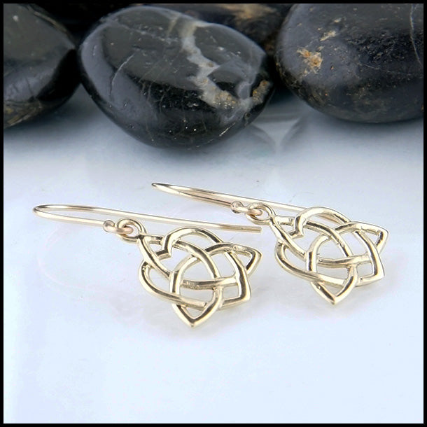 14k Gold Trinity Heart Drop Earrings