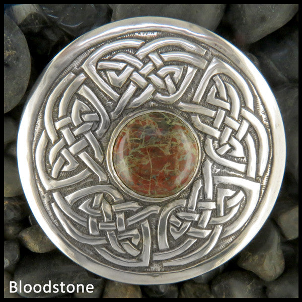 Celtic brooch in Sterling Silver with stones