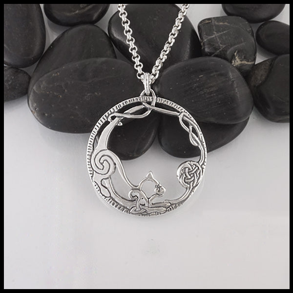 Celtic Cat Pendant in Sterling Silver