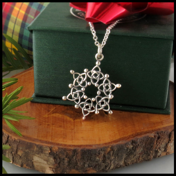 Celtic Starlight Snowflake Pendant in Silver