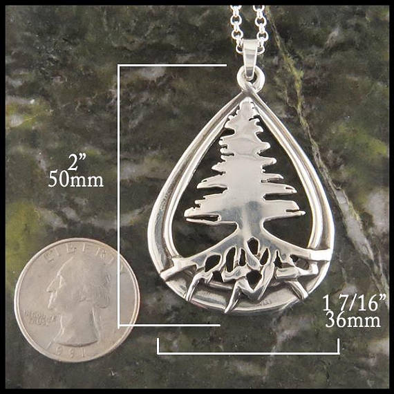 Celtic Pine Tree Pendant in Silver