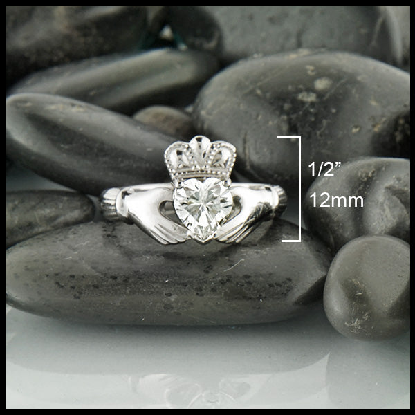 Handcrafted Moissanite Claddagh Ring by Walker Metalsmiths