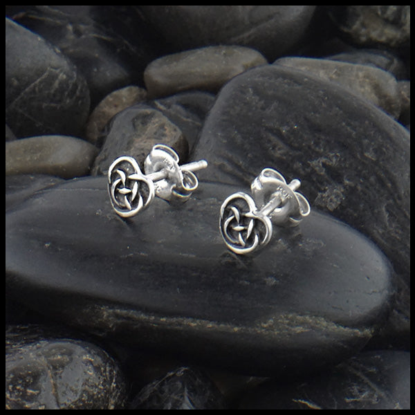 Celtic Robin's Heart Post Earrings in Sterling Silver
