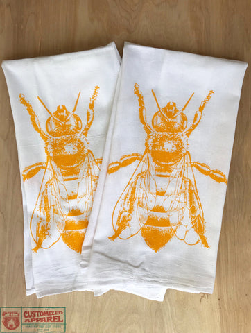 Eat HONEY - Multi-Purpose Flour Sack Bar Towel - Set of 2 - Renewable Natural Cotton - Zen Threads