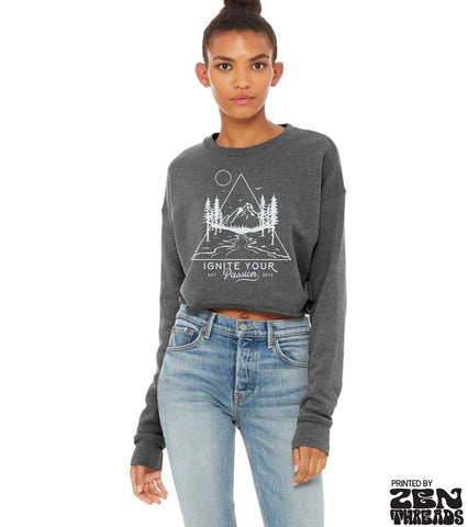 Ignite Your Passion Nature Design- Screen Printed Bella Crop Crew Sweatshirt