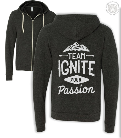 TEAM IGNITE YOUR PASSION Bella Canvas Unisex Fleece Tri-Blend Zip Hoody - Zen Threads