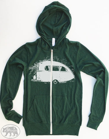 Unisex CAMPER Triblend Zip Lightweight Hoody -  xs s m l xl (+ Colors) - Zen Threads