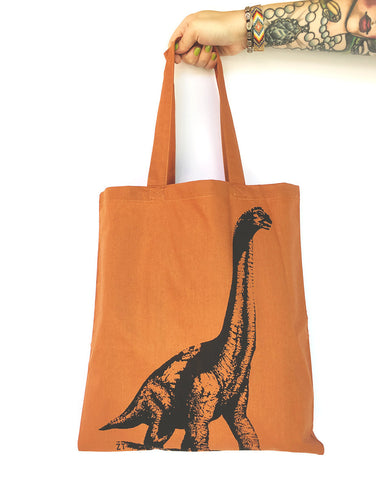 DINOSAUR- Eco-Friendly Market Tote Bag - Hand Screen printed - Zen Threads