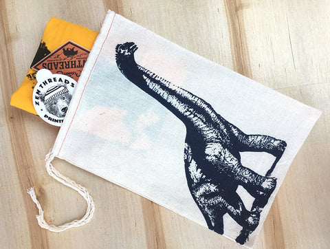 "Gift Bag/8x11"" DINOSAUR - Hand Printed Drawstring Reusable Cotton - Zen Threads"