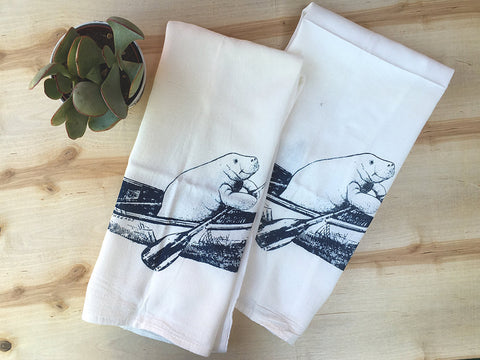 Set of 2 Kitchen Towels - MANATEE Flour Sack Bar Towels - Renewable Natural Cotton - Zen Threads