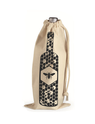 "WINE Gift Bag/8x11"" - Honey Bee - Hand Printed Drawstring Reusable Cotton Bag"