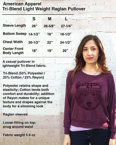 Womens American Apparel SHARK Tri-Blend Slouchy Pullover T-Shirt screen printed