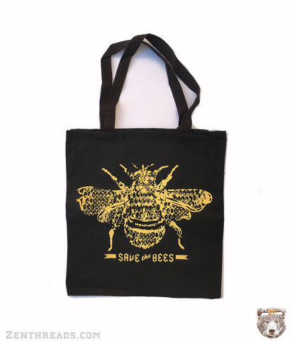 SAVE the BEES - Eco-Friendly Market Tote Bag - Hand Screen printed - Zen Threads