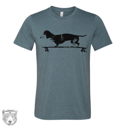 Men's Longboard DACHSHUND T-shirt  S M L XL XXL  (++ Color Options - Zen Threads