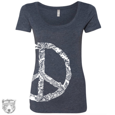 Women's PEACE Sign Scoop Neck Tee