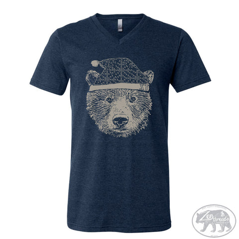 Unisex V-Neck HOLIDAY BEAR  T Shirt  xs s m l xl xxl ( + Colors)