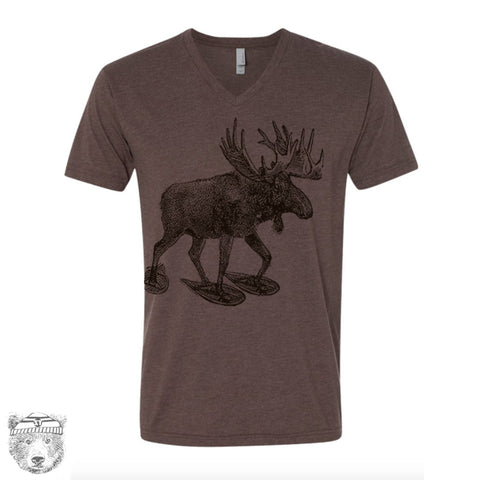 Unisex V-Neck MOOSE (in Snow Shoes)   xs s m l xl xxl (+ Colors Available)