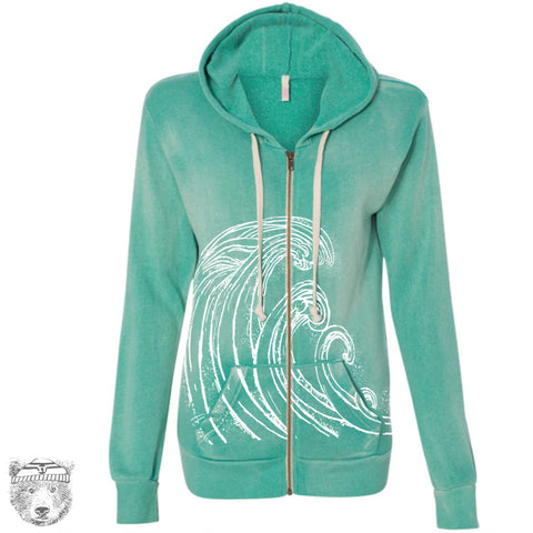 Women's WAVES Fleece Full Zip Hoody S M L XL (limited print run)