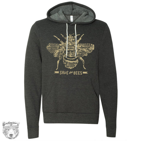 Unisex Save the Bees Fleece Pullover Hoody Sweatshirt xs s m l xl xxl (+ Color Options) - Zen Threads