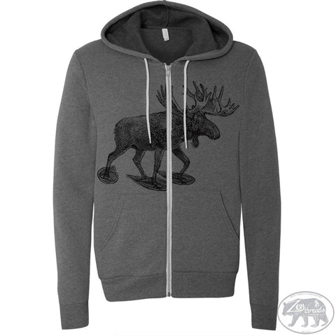 Unisex MOOSE (in Snowshoes) Zip Hoody - Zen Threads
