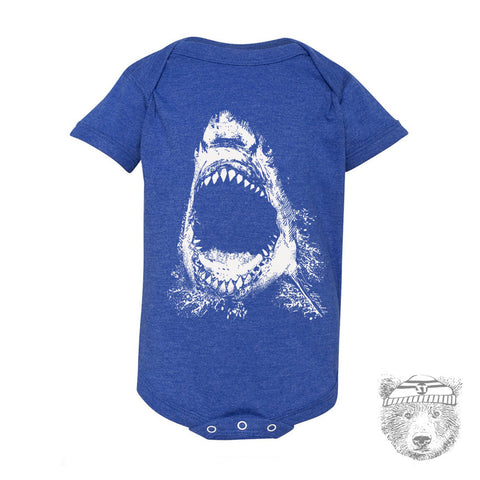 Baby infant One-Piece SHARK Eco screen printed - Zen Threads