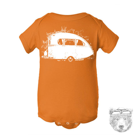 Baby One-Piece Vintage CAMPER Eco screen printed