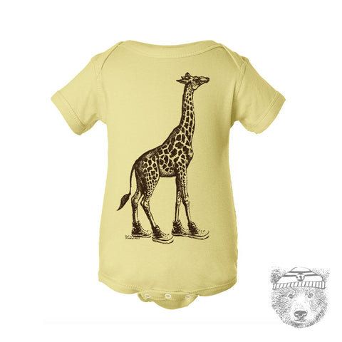 Baby One-Piece GIRAFFE (in High Tops) Eco screen printed