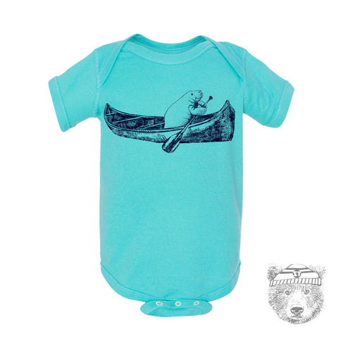 Baby One-Piece MANATEE (in a Canoe) Eco screen printed