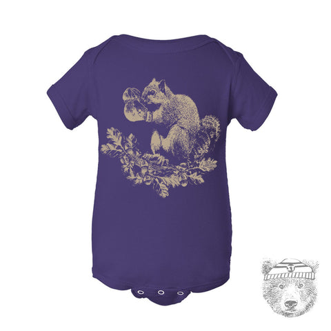 Baby One-Piece Boxing SQUIRREL Eco screen printed - Zen Threads