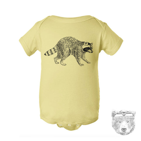 Baby One-Piece RACCOON Eco screen printed - Zen Threads