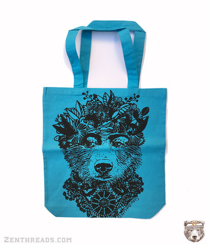 FRIDA BEAR - Eco-Friendly Market Tote Bag - Hand Screen printed