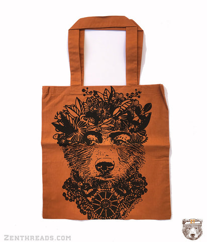 FRIDA BEAR - Eco-Friendly Market Tote Bag - Hand Screen printed - Zen Threads