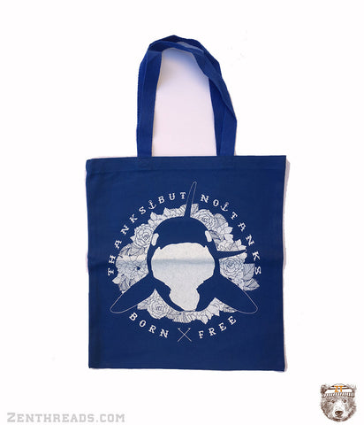ORCA No Tanks - Eco-Friendly Market Tote Bag - Hand Screen printed - Zen Threads