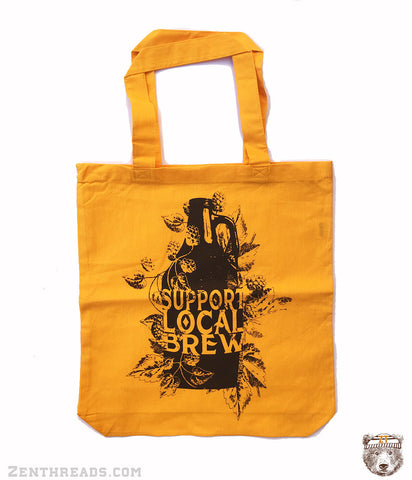 Support Local BREW - Eco-Friendly Market Tote Bag - Hand Screen printed - Zen Threads