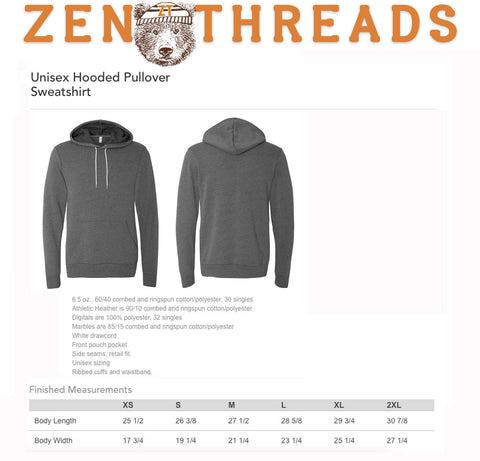 Unisex - MOOSE (in Snow Shoes)  Fleece PULLOVER Hoody - screen printed - xs s m l xl xxl (3 Colors) - Zen Threads