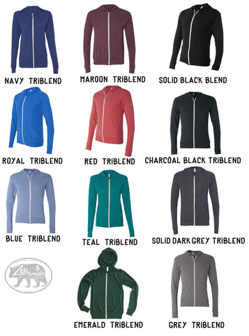 Unisex PEACOCK Triblend Zip Lightweight Hoody -  xs s m l xl (+ Colors)
