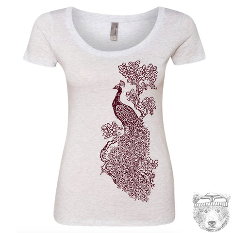 Women's Vintage PEACOCK Scoop Neck Tee - T Shirt S M L XL XXL (+ Colors)