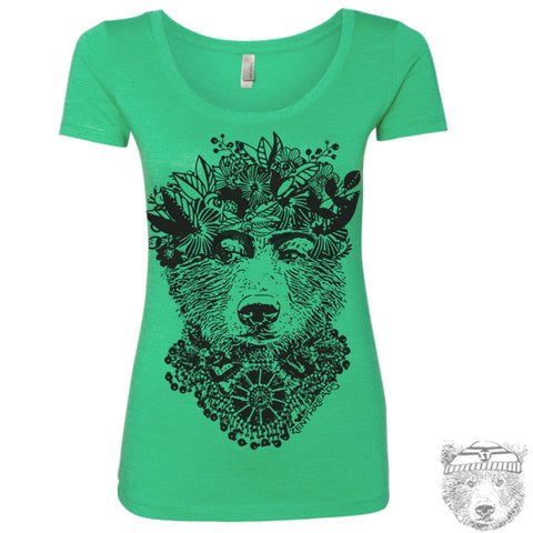 Women's FRIDA BEAR Scoop Neck Tee - T-shirt S M L XL XXL  (+Color Options)