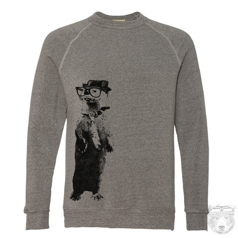 Unisex - River OTTER (in a Fedora) - Fleece Classic Sweatshirt - -hand screen printed sizes xs s m l xl