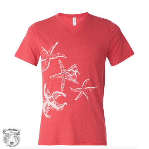 Unisex V-Neck STARFISH  T Shirt (+ Color Options) xs s m l xl