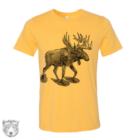 Men's MOOSE (in Snow Shoes) T-shirt  S M L XL XXL  (++ Color Options - Zen Threads