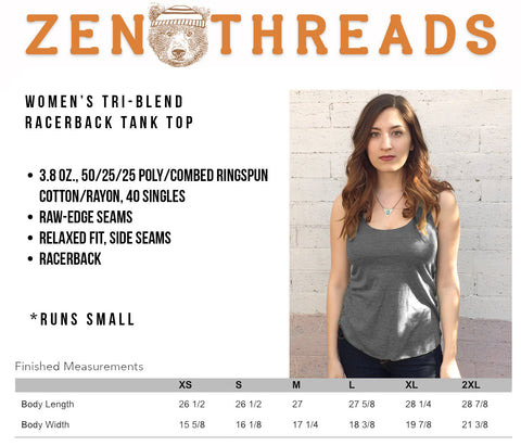 Women's Zen Threads BEACH -hand screen printed Tri-Blend Racerback Tank Top xs s m l xl xxl  (+Colors) workout