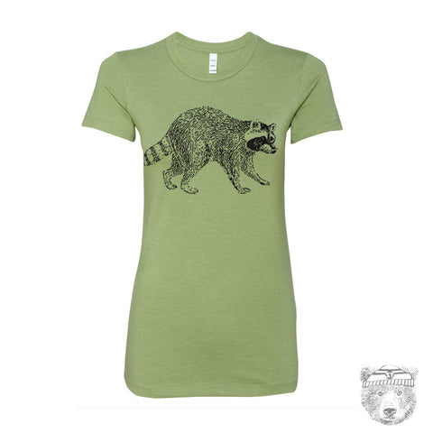 Women's Urban RACCOON T-shirt -hand screen printed S M L XL XXL (+ Colors Available)