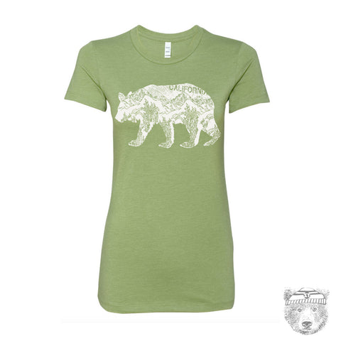 Women's California BEAR T-Shirt -hand screen printed s m l xl xxl (+ Colors Available)
