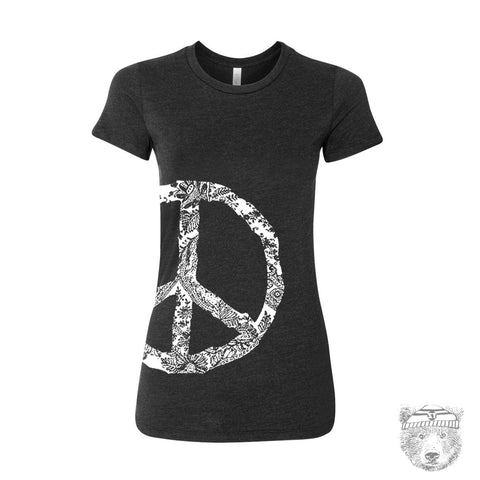 Women's Vintage PEACE t shirt -hand screen printed s m l xl xxl (+ Color Options)