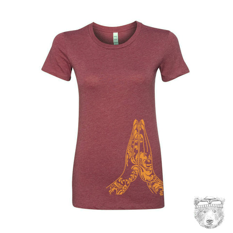 Women's NAMASTE -hand screen printed T Shirt s m l xl xxl (+ Colors Available)